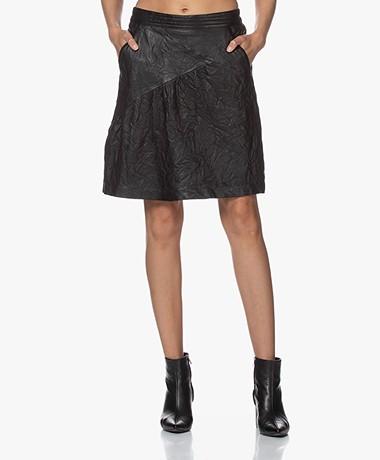 Zadig & Voltaire Jamie Crinkle Leather Skirt - Black