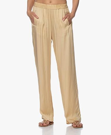 no man's land Satin Straight Leg Trousers - Desert