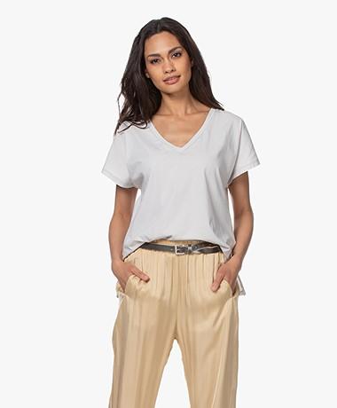 Drykorn Svana Cotton V-neck T-shirt - Light Greige