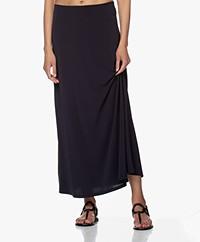 no man's land Crepe Jersey Maxi Skirt - Dark Sapphire