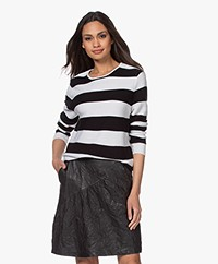 Sibin/Linnebjerg Amelia Fine Knit Striped Sweater - Off-white/Black