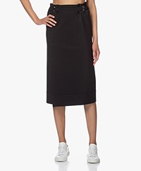 Woman By Earn Ikes Tech Jersey Midi Broekrok - Zwart