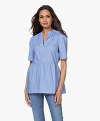 By Malene Birger Cristaria Peplum Short Sleeve Blouse - Blue Iris