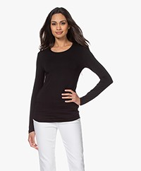 Majestic Filatures Ally Round Neck Long Sleeve - Black
