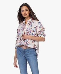 Repeat Printed Linen Blouse - Light Beige