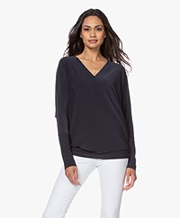 Norma Kamali Tech Jersey V-neck Long Sleeve - Pewter