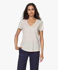 Repeat Lyocell Jersey V-neck T-shirt - Desert
