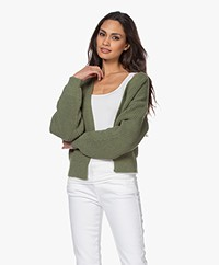 by-bar Emma Short Open Cardigan - Olive