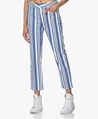 Closed Gloria Cropped Gestreepte Twill Broek - Bluebird