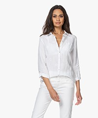 Belluna Peppino Embroidered Linen Blouse - White