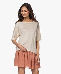 no man's land Loose-fit Linen T-shirt - Soft sand