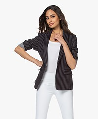 Rag & Bone Lexington Gestreepte Jersey Blazer - Navy