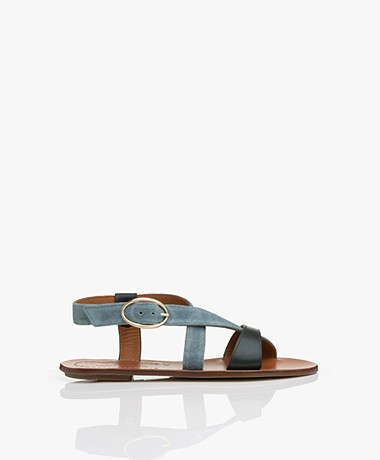 Vanessa Bruno Leather Sandals - Petrol Green/Greyish Blue