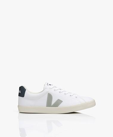 VEJA Esplar Low Logo Bio Katoenen Sneakers - Wit/Grijs/Nautico