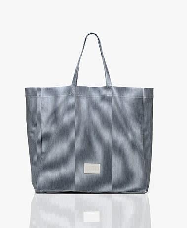 Closed Nika Katoenen Shopper - Blauw/Off-white