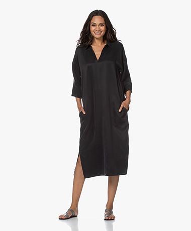 Drykorn Charri Cupro Blend Midi Dress - Black