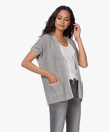 Belluna Monsoon Open Short Sleeve Cardigan - Grey/Ecru