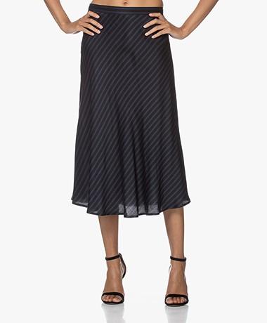 Plein Publique Le Cristal Viscose Midi Skirt - Navy Stripe