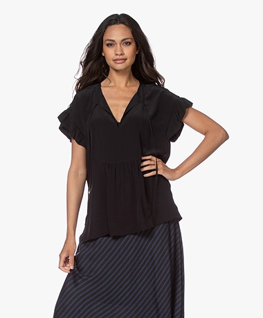 By Malene Birger Sbai Silk Blouse with Ruffled Sleeves - Black