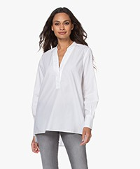 Closed Darcy Cotton Slit Neck Blouse - White