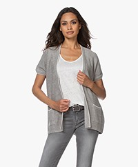 Belluna Monsoon Open Short Sleeve Cardigan - Grey/Ecru
