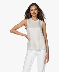 Rag & Bone Ali Pied-de-poule Satijnen Tanktop - Cloud Grey