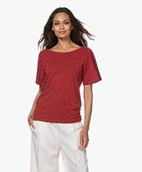 Plein Publique La Vie Modal Blend Butterfly Sleeve T-shirt - Red