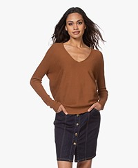 no man's land Rib Knitted Cotton V-neck Sweater - Red Earth