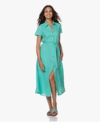 Kyra & Ko Pebble Linen Midi Shirt Dress - Poolblue