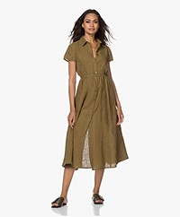 Kyra & Ko Pebble Linen Midi Shirt Dress - Moss
