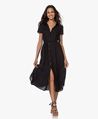 Kyra & Ko Pebble Linen Midi Shirt Dress - Black