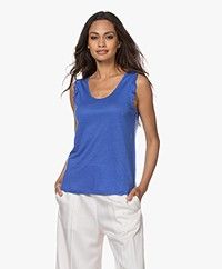 indi & cold Linen Top with Ruffles - Cobalt