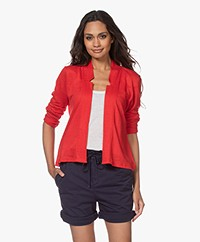 no man's land Short Linen Jersey Cardigan - Red