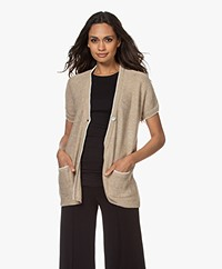 Belluna Monsoon Open Short Sleeve Cardigan - Beige/Ecru