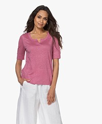 indi & cold Linen Slit Neck T-shirt - Lichi