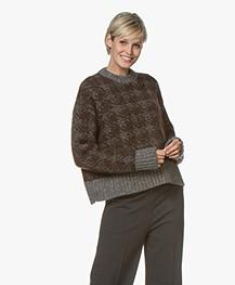 Joseph Houndstooth Jacquard Sweater - Brown/Grey