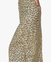 Denham Venice Cupro Blend Leopard Print Skirt - Beige