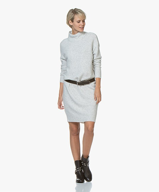 American Vintage Damsville Oversized Turtleneck Dress - Grey Melange