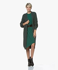 by-bar Berry Long Cotton Mix Open Cardigan - Dark Green