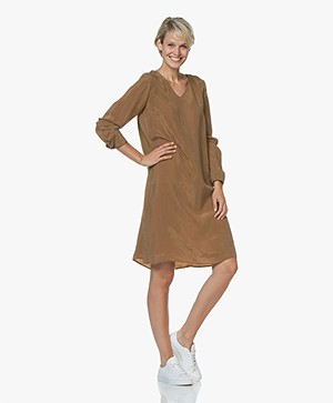 Drykorn Josy Cupro Long Sleeve Dress - Camel