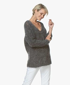 Vanessa Bruno Merlin Oversized Mohair Blend Sweater - Grey Melange