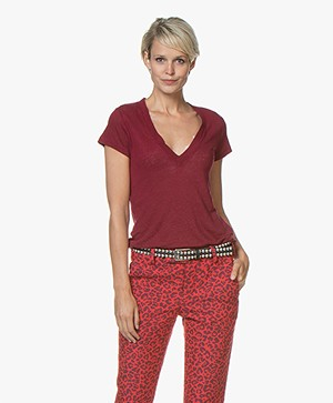 IRO Rodeo Linnen V-hals T-shirt - Berry