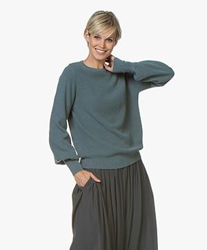 by-bar Doortje Modal Blend Rib Sweater - Blue Sage