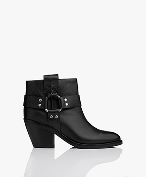 See by Chloé Western Leather Ankle Boots - Black