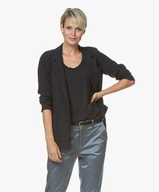Pomandère Lightweight Wool Blend Blazer - Black/Dark Blue