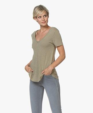 American Vintage Kobibay V-hals T-shirt - Vintage Sage