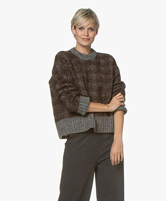 Joseph Houndstooth Jacquard Sweater - Brown/Grey