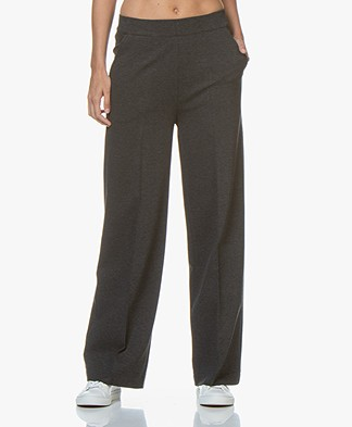 LaSalle Ponte Jersey Wide Leg Sweatpants - Anthracite