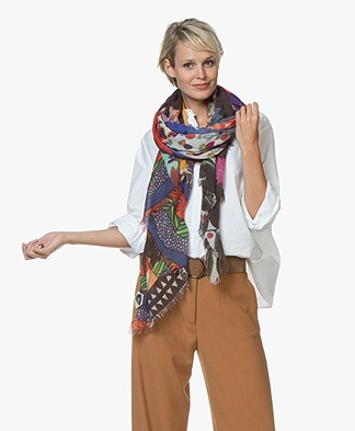 LaSalle Frida Wool Blend Printed Scarf - Multi-color