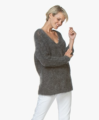 Vanessa Bruno Merlin Oversized Mohair Blend Sweater - Grey Melange